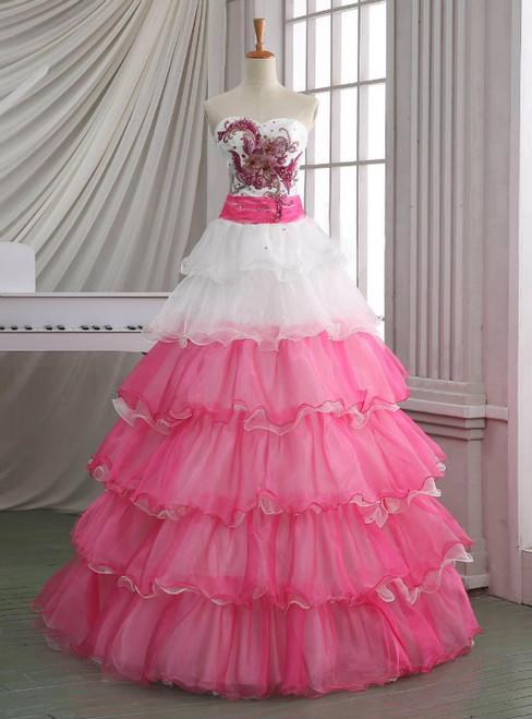 New Handmade White And Pink Organza Vintage Wedding Dress