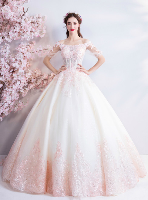 In Stock:Ship in 48 Hours Pink Tulle Short Sleeve Appliques Wedding Dress