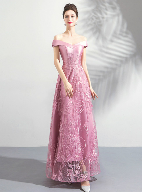 In Stock:Ship in 48 Hours Pink Tulle Appliques Off the Shoulder Prom Dress