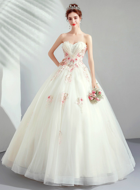 In Stock:Ship in 48 Hours Champagne Tulle Sweetheart Appliques Wedding Dress