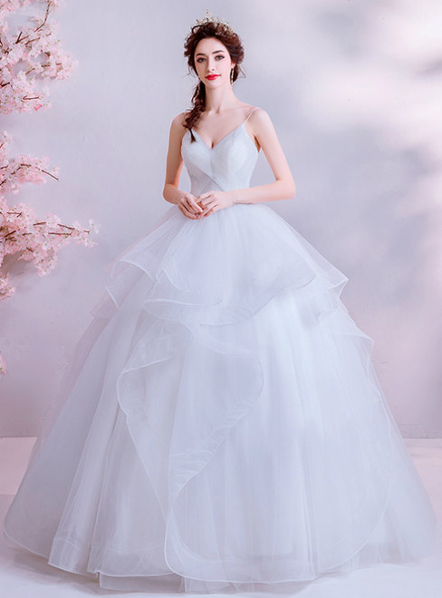 In Stock:Ship in 48 Hours White Ball Gown Tulle Spaghetti Straps Wedding Dress