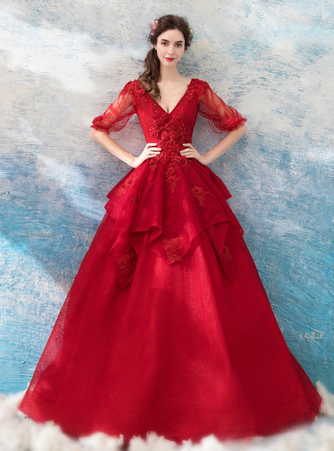 In Stock:Ship in 48 Hours Red V-neck Half Sleeve Appliques Wedding Dress