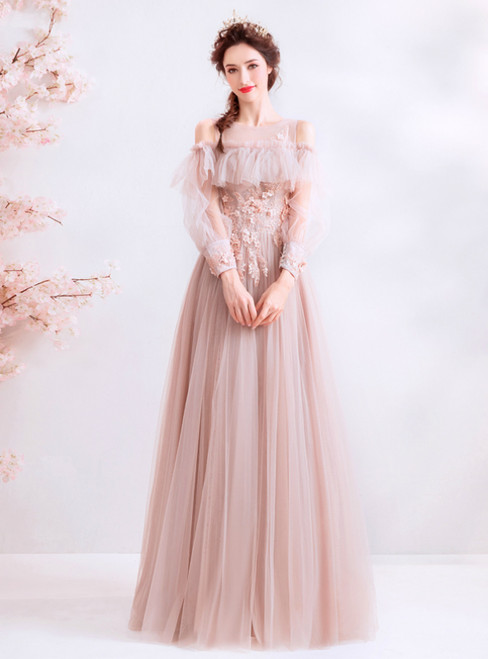 In Stock:Ship in 48 Hours Pink Tulle Long Sleeve Appliques Prom Dress