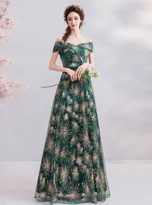 In Stock:Ship in 48 Hours Green Sequins Off The Shoulder Prom Dress