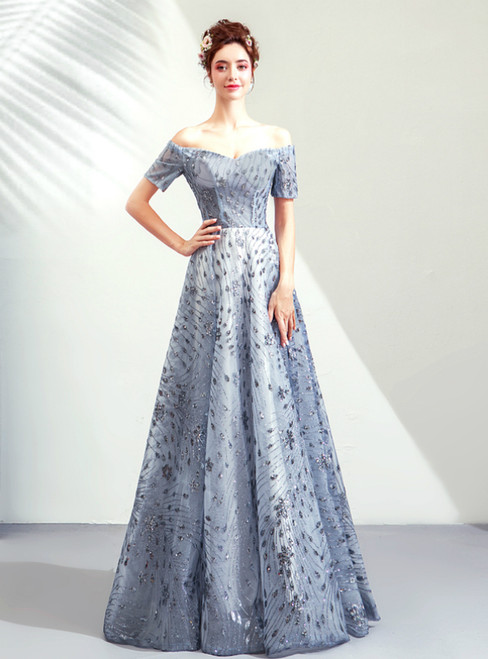 In Stock:Ship in 48 Hours Gray Blue Sequins Off the Shoulder Prom Dress