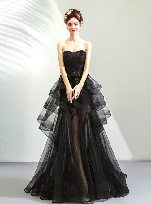 In Stock:Ship in 48 Hours Black Tulle Sweetheart Prom Dress
