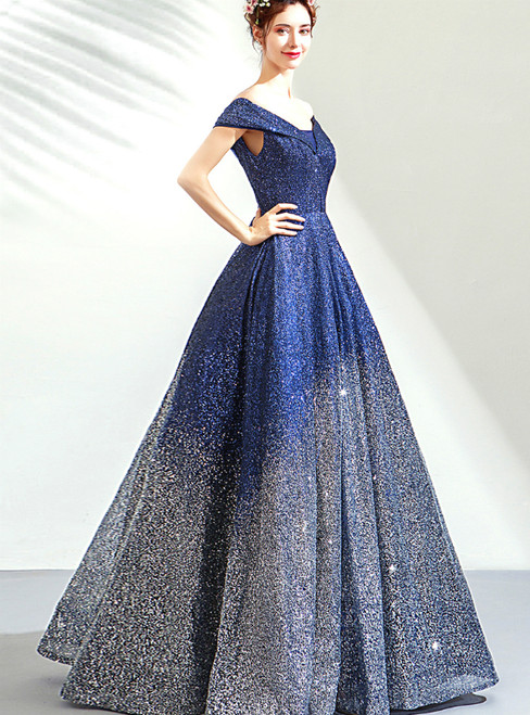 In Stock:Ship in 48 Hours Blue Silver Ball Gown Sequins Off The Shoulder Prom Dress