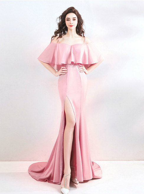In Stock:Ship in 48 Hours Pink Chiffon Mermaid Spaghetti Straps Prom Dress