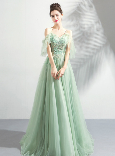 In Stock:Ship in 48 Hours Green Tulle Spaghetti Straps Appliques Prom Dress