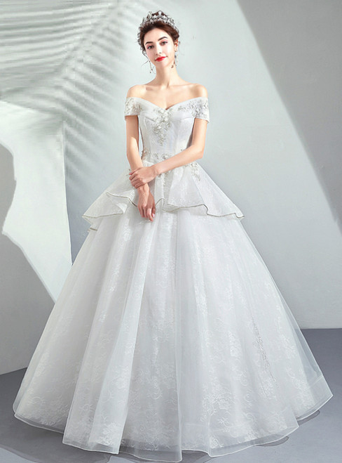 In Stock:Ship in 48 Hours White Ball Gown Off The Shoulder Appliques Wedding Dress