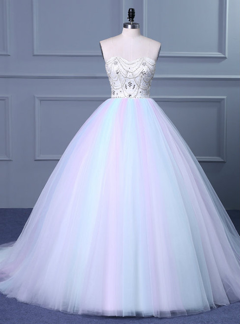 Cheap wedding dresses 2017 Strapless Sweetheart Colorful Wedding Gown with Sweep Train