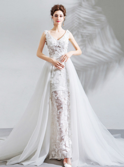 In Stock:Ship in 48 Hours White Tulle Appliques V-neck Appliques Wedding Dress