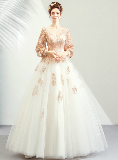 In Stock:Ship in 48 Hours V-neck Tulle Long Sleeve Appliques Wedding Dress