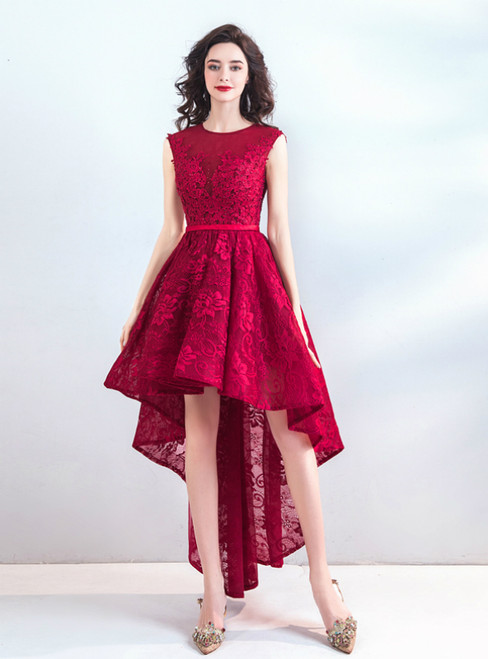 In Stock:Ship in 48 Hours Red Lace Hi Lo Appliques Homecoming Dress