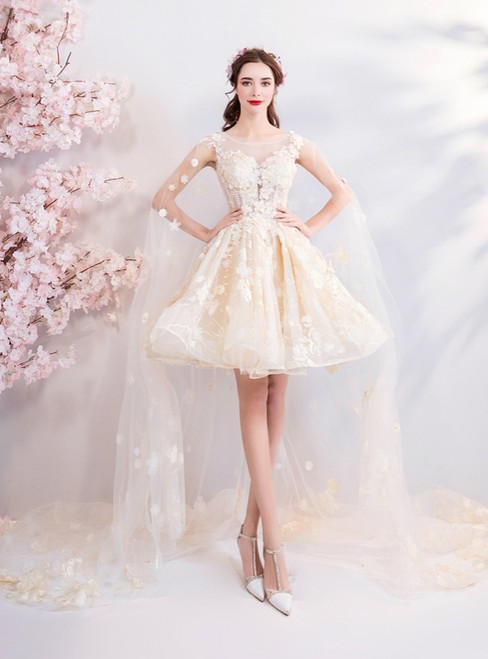 In Stock:Ship in 48 Hours Champagne Tulle Appliques Homecoming Dress