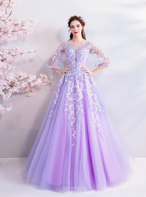 In Stock:Ship in 48 Hours Purple Tulle Appliques Long Prom Dress
