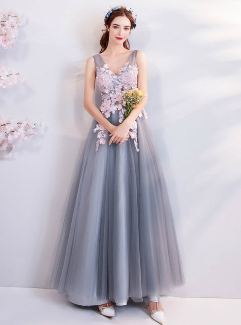 In Stock:Ship in 48 Hours Gray Tulle Appliques V-neck Prom Dress