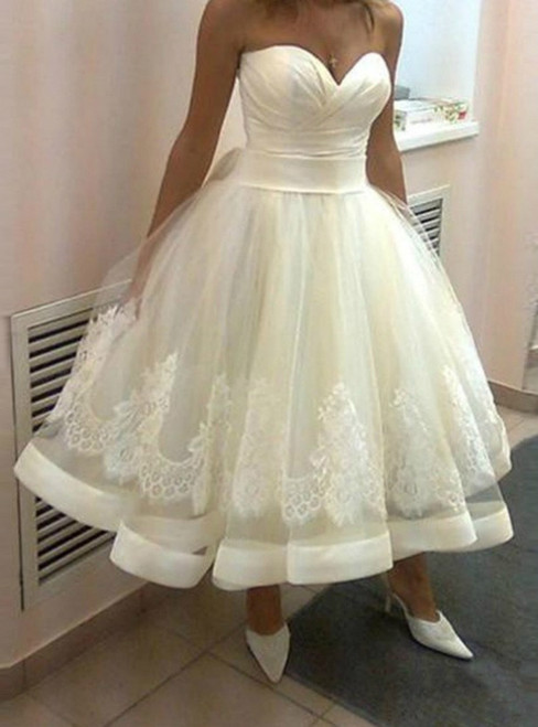 Beach Tea Length Sweetheart A Line Lace Up Summer Bridal Gowns
