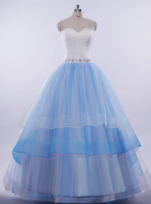 Blue Ball Gown Sweetheart Neck Layers Tulle Wedding Dress