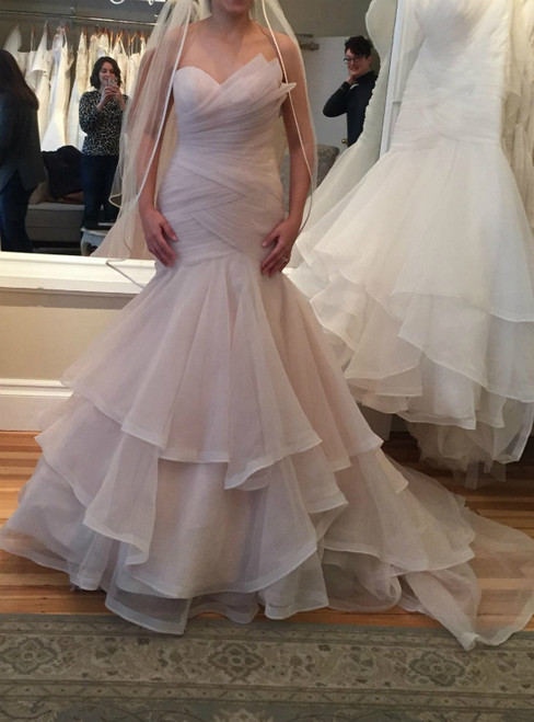 Pink Strapless Nude Organza Ruffles Mermaid Wedding Dresses
