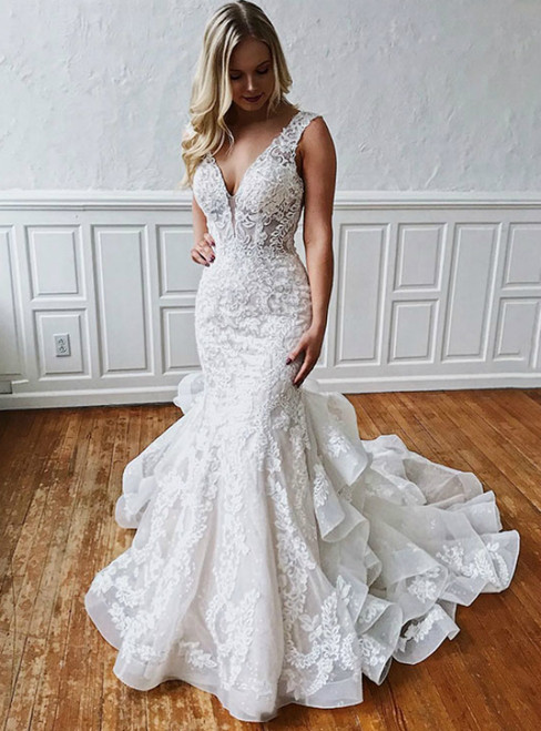 White Mermaid Tulle Appliques V-neck Backless Wedding Dress