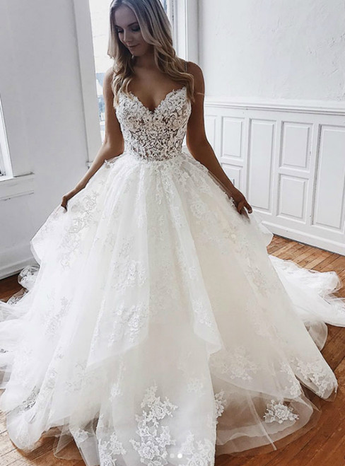 A-Line White Tulle Appliques Spaghetti Straps Backless Wedding Dress