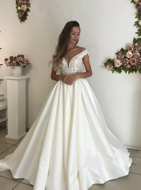 Ball Gown Satin Off The Shoulder Appliques Backless Wedding Dress