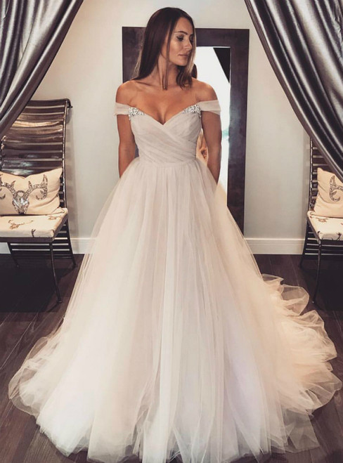 Off Shoulder Tulle Sleeves Blush Wedding Dress Colorful Bridal Dress