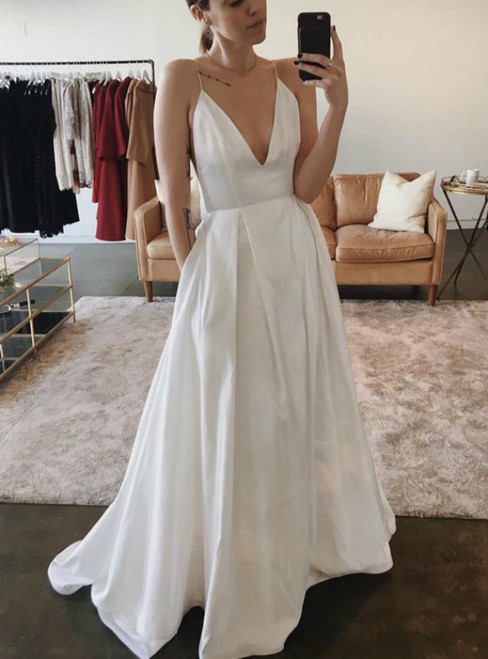 A-Line White Satin Spaghetti Straps Wedding Dress With Pocket