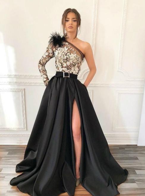 Black Satin One Shoulder Appliques Prom Dress With Side Split