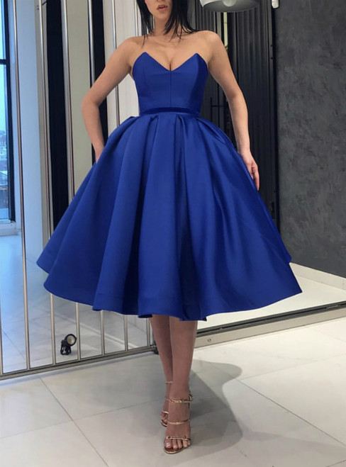 A-Line Blue Satin Sweetheart Pleats Cocktail Dresses 2019