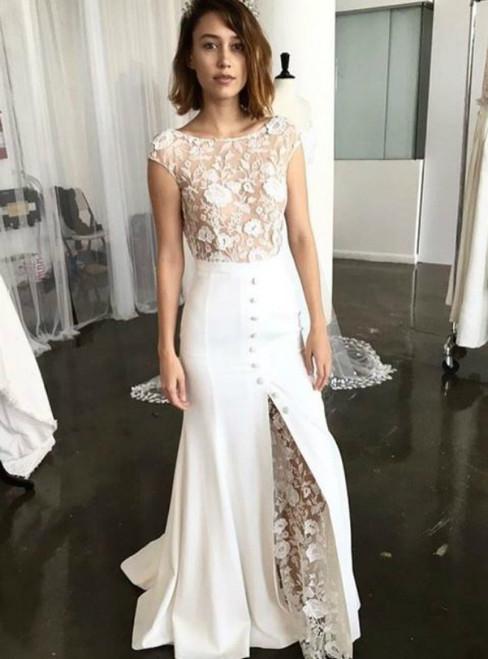 Sheath Bateau Cap Sleeves Backless Lace Wedding Dress with Split