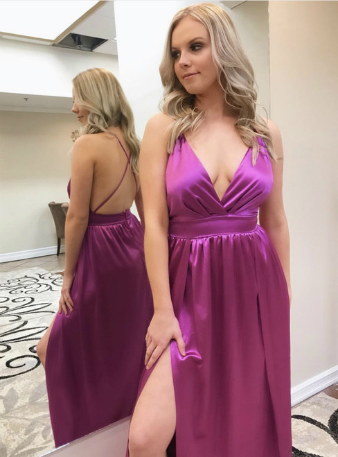 A-Line Silk Satin V Neck Sexy Prom Dresses 2019 Side Slit