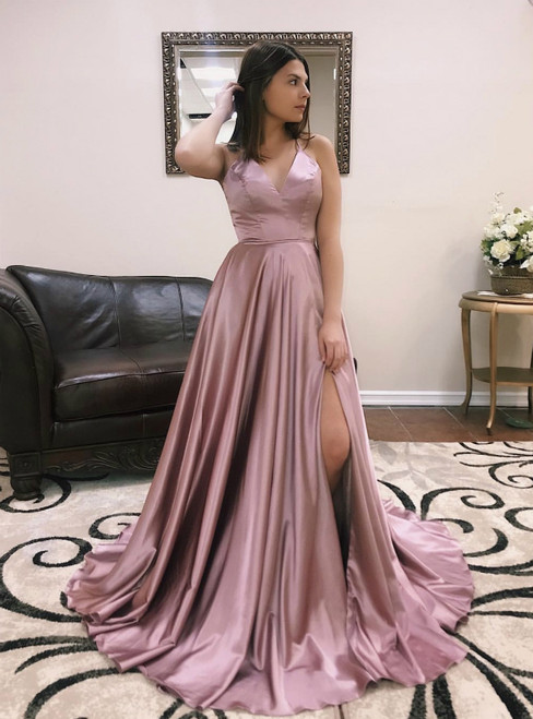 A-Line Sexy Pink Satin Cross Back Prom Dresses With Side Split
