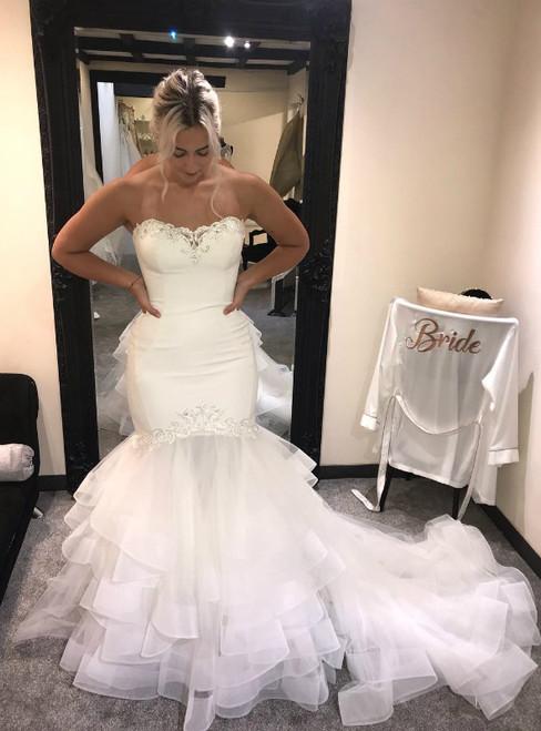 White Mermaid Tulle Sweetheart Neck Wedding Dress