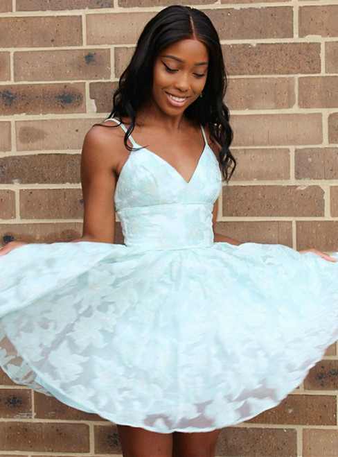 A-line Blue Lace Spaghetti Straps Neckline Homecoming Dresses