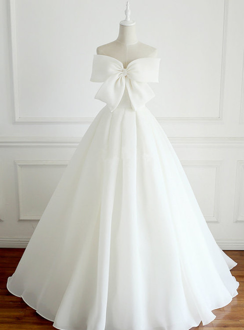 A-Line Long White Chiffon Strapless Floor Length Wedding Dress