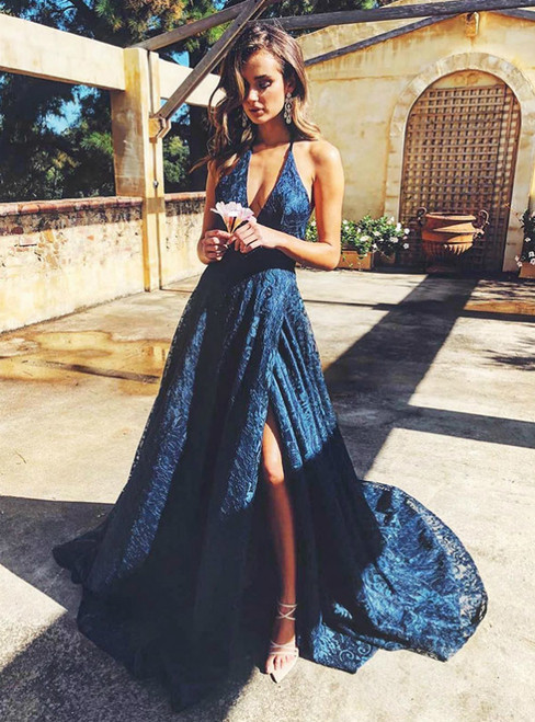 A-Line Lace Halter Deep V-neck Backless Prom Dress With Side Split