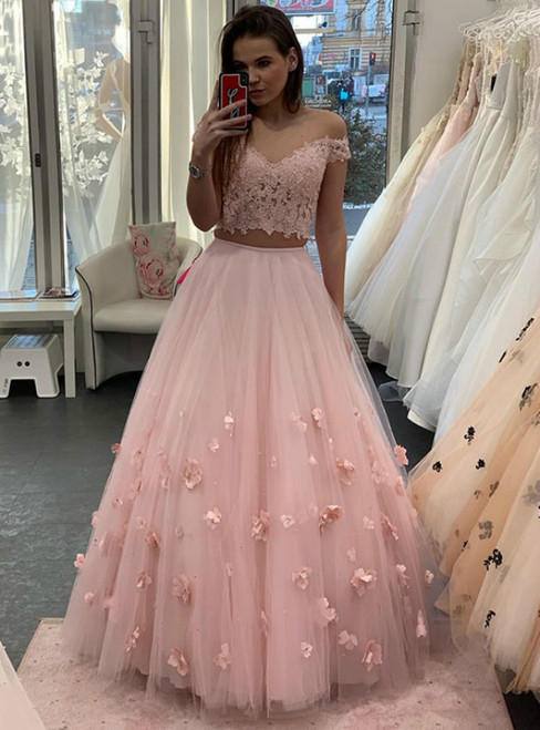 A-Line Pink Tulle Appliques Off the Shoulder Two Piece Prom Dress