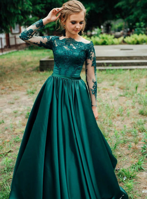 A-Line Green Satin Appliques Long Sleeve Off the Shoulder Prom Dress