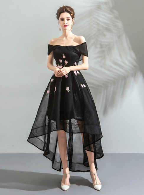 In Stock:Ship in 48 Hours Black Hi Lo Off the Shoulder Appliques Homecoming Dress