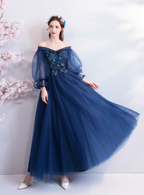 In Stock:Ship in 48 Hours Blue Tulle Puff Sleeve Prom Dress