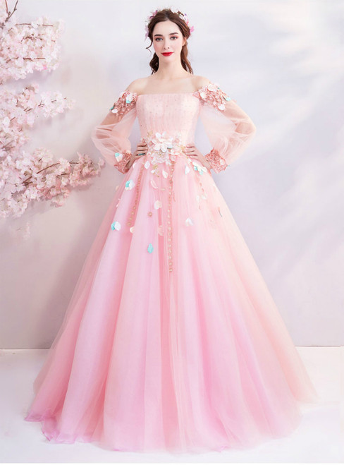 In Stock:Ship in 48 Hours Pink Tulle Puff Sleeve Appliques Quinceanera Dresses