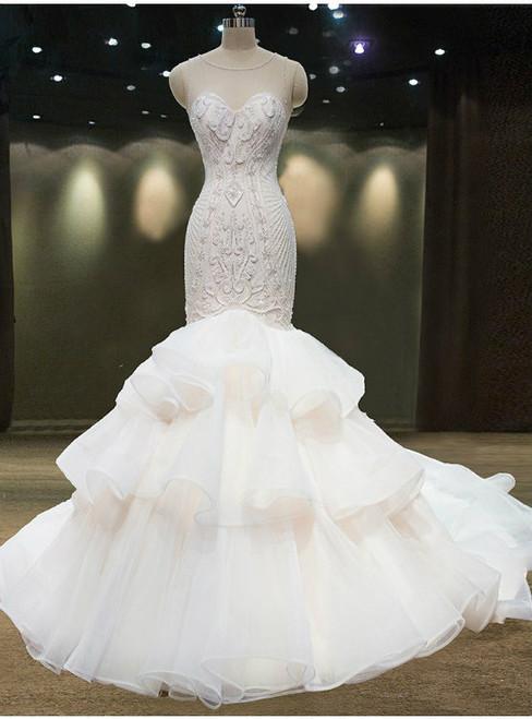 Sexy Mermaid Sexy Neck Backless Wedding Dress With Bead