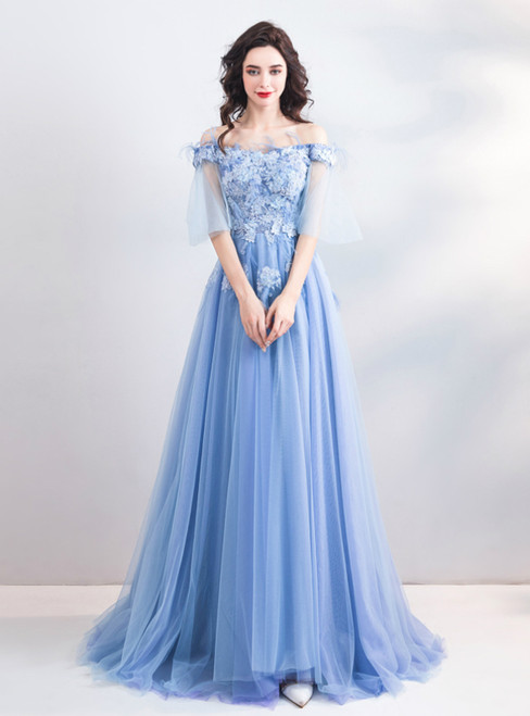 In Stock:Ship in 48 Hours Blue Tulle Off the Shoulder Appliques Prom Dress