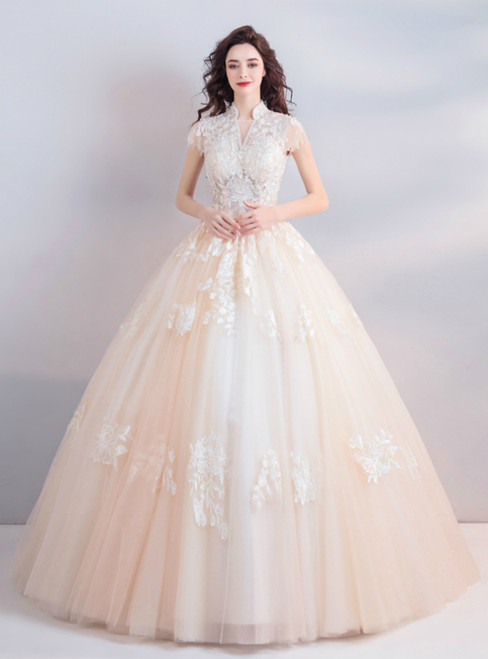 In Stock:Ship in 48 Hours Champagne Tulle High Neck Cap Sleeve Wedding Dress