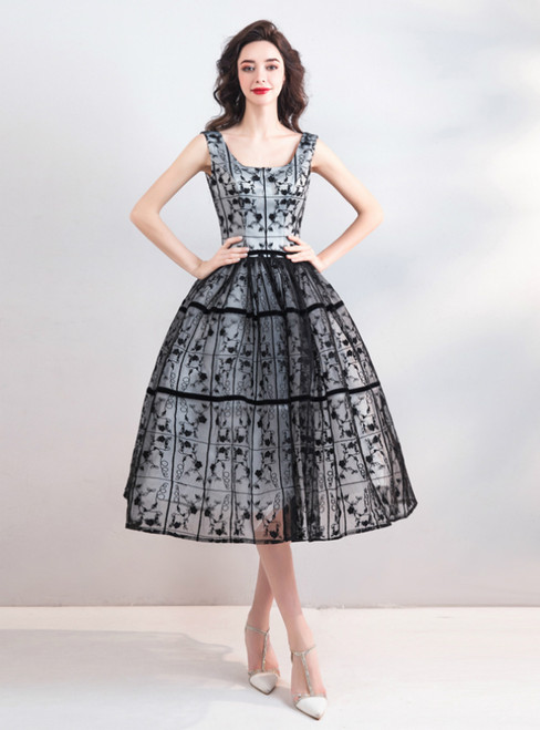 In Stock:Ship in 48 Hours Black Lace Straps Homecoming Dress