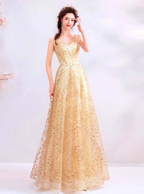 In Stock:Ship in 48 Hours Gold Tulle Sequins V-neck Prom Dress