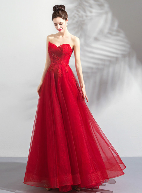 In Stock:Ship in 48 Hours Red Sweetheart Neck Tulle Prom Dress