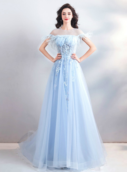 In Stock:Ship in 48 Hours Blue Tulle Appliques Cap Sleeve Prom Dress